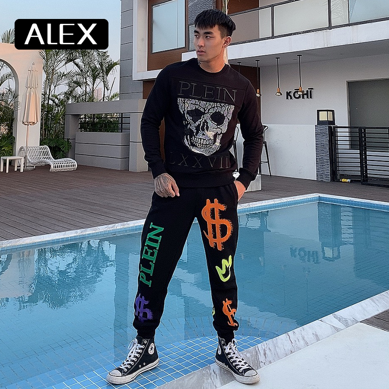 Alex Plein sweatshirt men 100% cotton rhinestones skull streetwear couple clothing hip hop tracksuit mens fashion clothing new