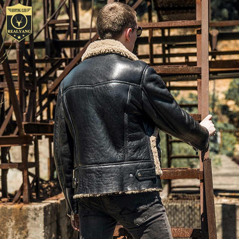 100% natürliche Lammfell Jacke Männer Kleidung 2020 Streetwear Echt Pelzmantel Mann Moto Biker Schlank Echtem Leder Jacken 744