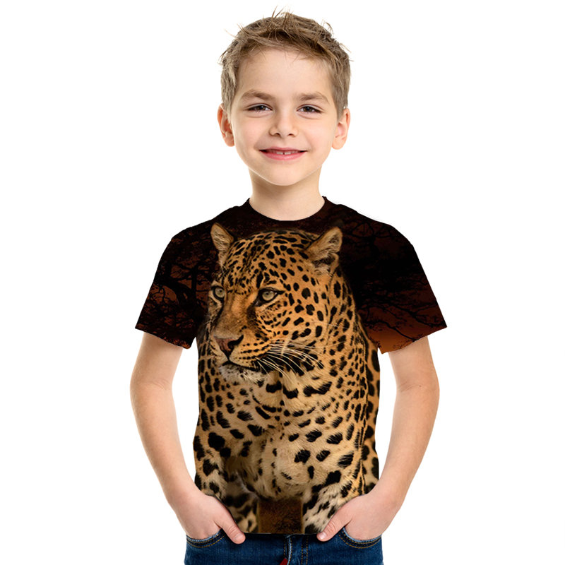 2020 Summer Children Space Galaxy 3D T shirt Angel Animal Lion Tiger Wolf Leopard Printed Boys Girls T-shirt Kids Fashion Tshirt