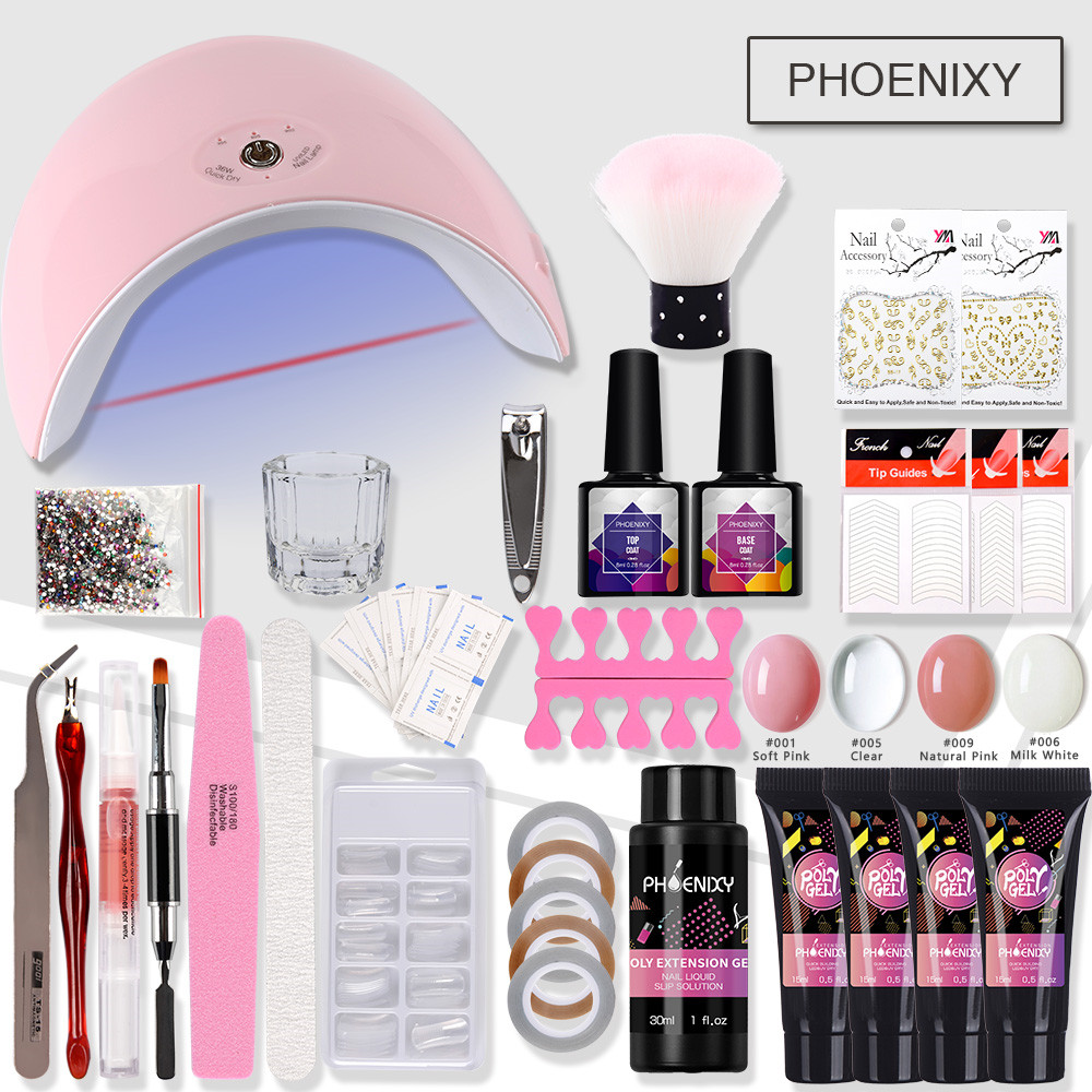 Nail Kit Polygel Set With 36w LED Lamp For Hard Jelly Builder Gel Quick Building Set Nail Tools For Extension Gel Manicure Set