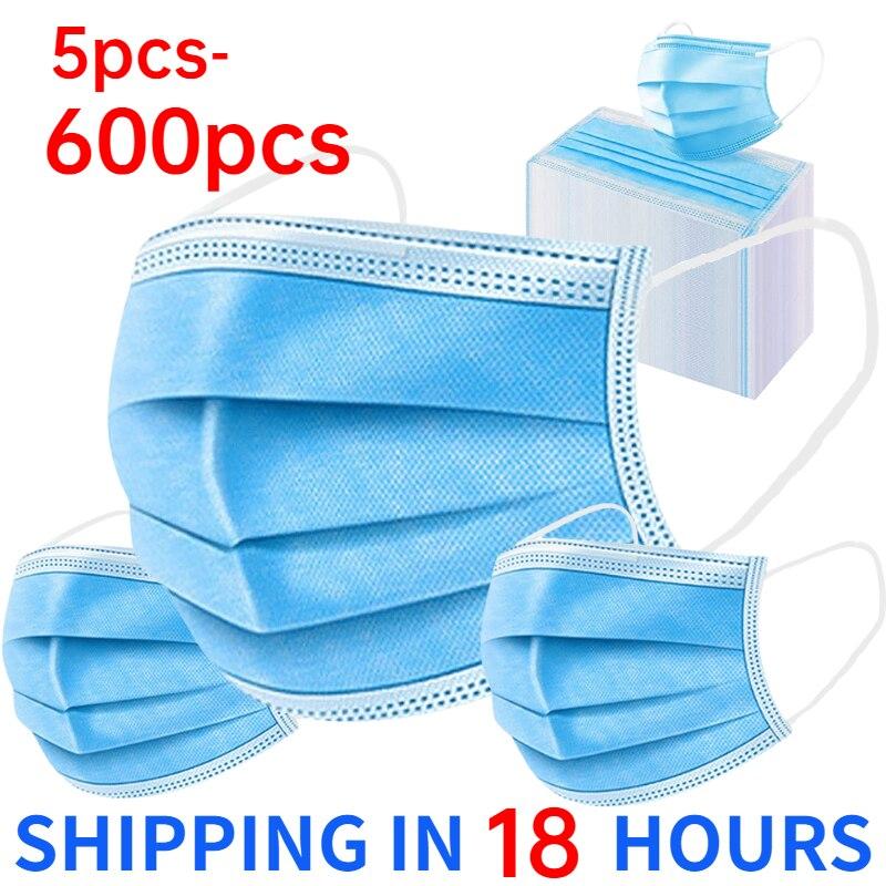5-600 шт. одноразовые маски для лица взрослых сварочная маска для полости рта синий нетканый аэродинамическим способом из расплава 3 Слои анфа...