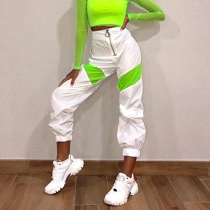 2020 New Streetwear Loose Pant Zipper Cargo Pants Women Fashion Neon Green/pink/black Patchwork Joggers Baggy Trousers KZ12