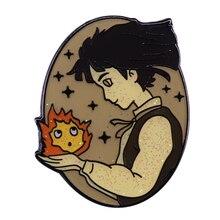 Подвижный замок Howl's Sophie& Calcifer, блестящий значок Ghibli, декор для фанатов аниме