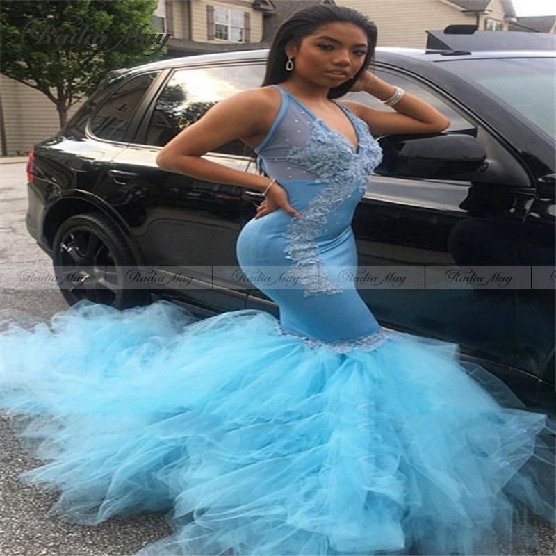 African Sky Blue Lace Mermaid Prom Dresses 2k20 Sexy V Neck Backless Ruffles Beaded Party Gowns Black Girl Evening Dress Long