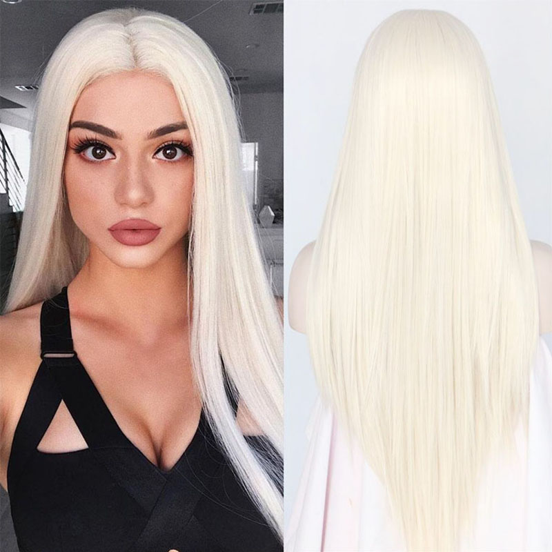 Cheap Silky Straight Top Quality White 60# Synthetic Lace Front Wig Heat Resistant Long Hair Light Blonde 0809# For Black Women