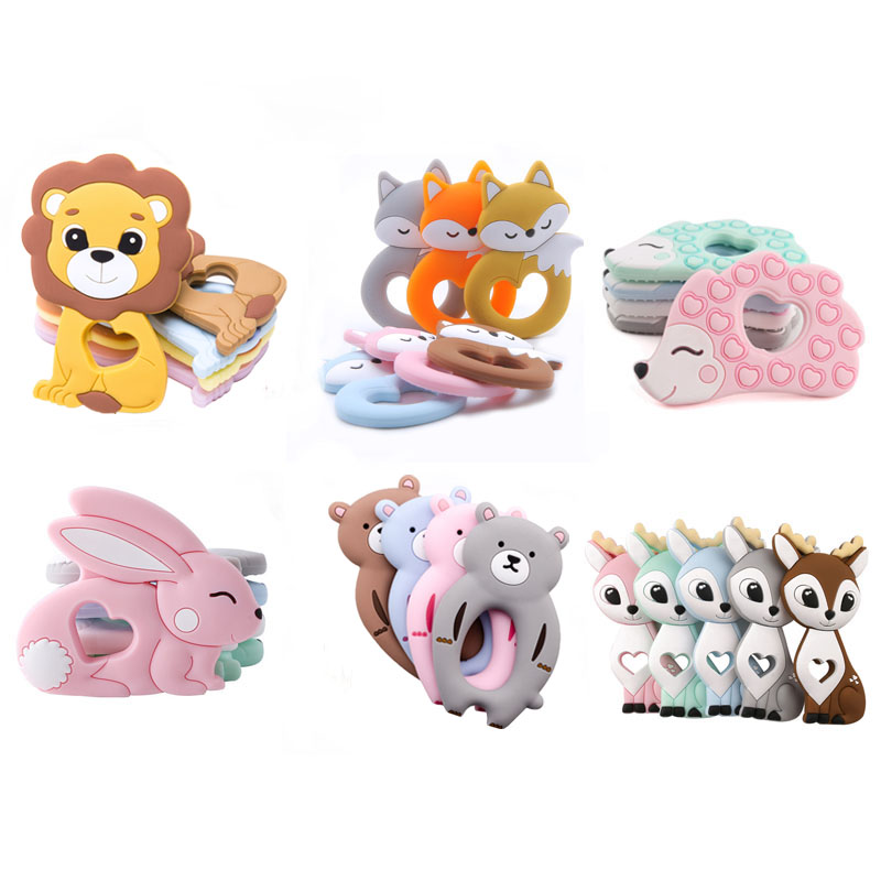 Silicone Teether Baby Rodent Cartoon Animals Teethers Silicone Pandents DIY Teething Toy For Teeth Tiny Rod Baby Teethers Gift