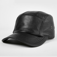 H7627 Middle aged Elderly Men's Baseball Cap Male Thin Winter Warm Outdoor Cotton Hat Young Genuine Leather Casual Black Caps