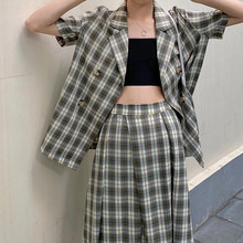 Women's Summer Suit with a Skirt Korean Style Plaid Blazer Business Suit Jacket and Skirt Double-Breasted Blazer Blouses Set(China)