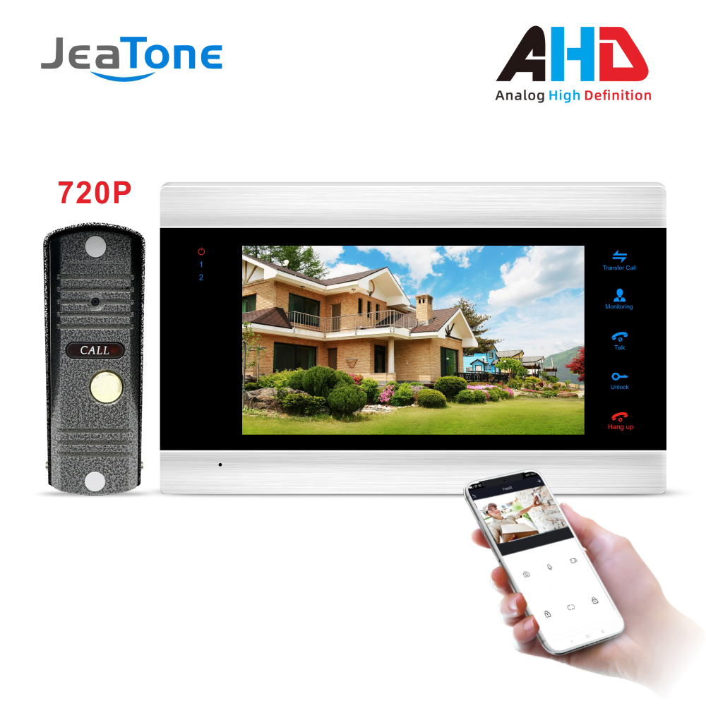 720P/AHD 7'' WiFi Smart Video Door Phone Intercom System With AHD Doorbell Camera Free App Remote Unlock Access Control System