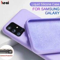 Líquido Original de silicona caso para Samsung Galaxy S21 S20 fe S10 S9 S8 Plus Nota 20 Ultra 10 9 A51 A50 A71 A70 A20 A30 A40 cubierta accesorios del teléfono móvil