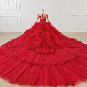 Image 3 - HTL1280 Luxe Shiny Vrouwen Gelegenheid Jurken O hals Lange Mouwen Lace Up Back Red Lace Engagement Jurk Lange Met Lange Trein