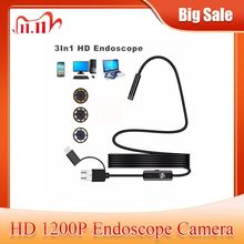 1200P Android PC Endoscope Camera USB Type C Inspection Endoscope Semi Rigid 1m 2m 3.5m 5m Wire Led Light Borescope Camera