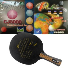 Pro Table Tennis Combo Racket Galaxy Palio TCT Ti + Carbon blade with Palio CJ8000 (BIOTECH) and CJ8000 Table Tennis Rubber