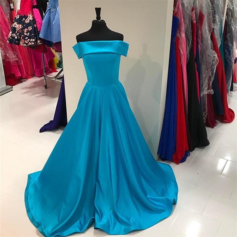 AED102 Vintage Satin Evening Dresses Long Women A Line Fashion Celebrity Vestidos De Fiesta De Noche Front Split Prom Gowns