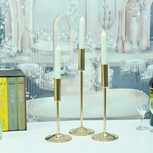 Candle-Holder Home-Decor Christmas Exquisite-Table Metal IMUWEN for IM761 Brief Delicate