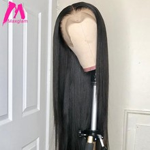 Lace Front Human Hair Wigs Straight Brazilian Wig Pre Plucked with baby hair For Black Women remy hair Natural Color 13x4 130%(China)