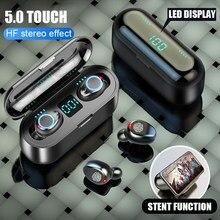 F9 v5.0 tws hd fone de ouvido sem fio bluetooth estéreo fones bluetooth display led 2000mah caixa carregamento com microfone