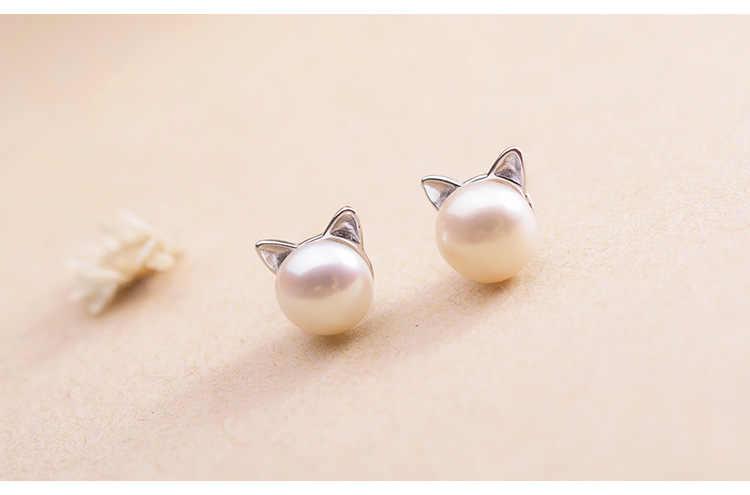 925 prata esterlina hypoallergenic pérola gato parafuso prisioneiro brinco para mulheres meninas presente jóias de casamento brincos bijoux pendientes eh593