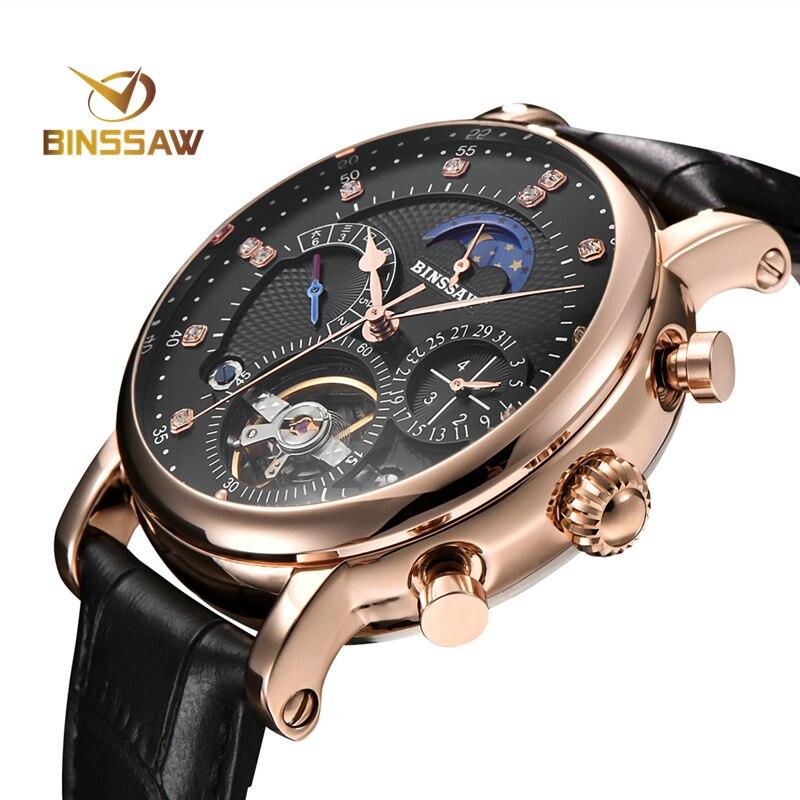 men Automatic Self-Wind mechanica tourbillon watches Fashion Casual leather  Moon Phase watch men skeleton relogio masculino