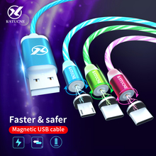 Magnetic LED Glow Flowing Data USB Charger Type C/Micro USB/8 Pin Charging Cable For iPhone X XS Samsung S9 S8 Charge