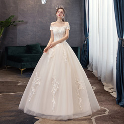 Gryffon Wedding Dress 2019 Elegant Boat Neck Lace Up Ball Gown Off The Shoulder Gowns Lace Embroidery Vintage Wedding Dress