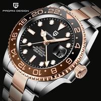 2021 nuovo orologio GMT di lusso PAGANI DESIGN uomo orologi meccanici automatici in acciaio inossidabile orologio impermeabile con lunetta in ceramica zaffiro