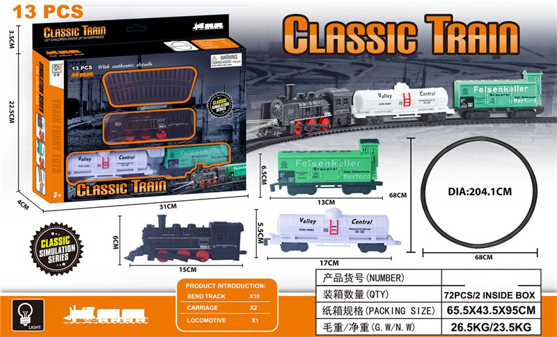 Electric Light Model Classical Rail Train Children DIY Assembled Rail Train With Cabin Toy