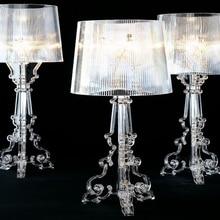Lámpara de mesa acrílica transparente con sombra de fantasma moderna, para dormitorio, mesita de noche, estudio, sencilla