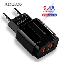 AIXXCO 5V 2A EU 플러그 LED 빛 2 USB 어댑터 휴대 전화 벽 충전기 장치 빠른 충전 QC 3.0 모바일 충전기 빠른 충전기