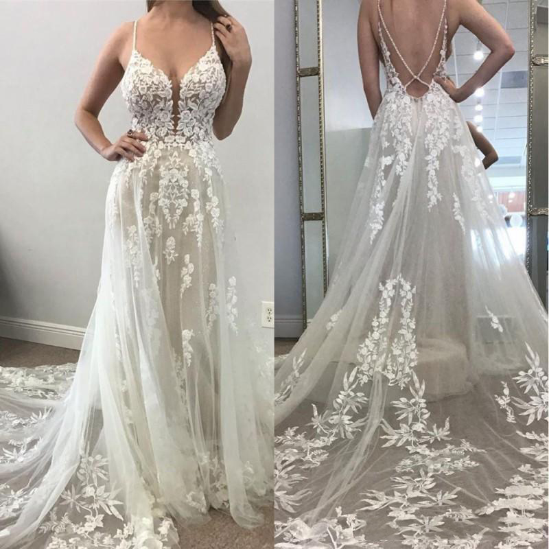 2020 Sexy Bohemian Beach A Line Wedding Dresses Illusion Backless 3D Lace Appliqued Bridal Gowns Plunging V Neck Boho Wedding