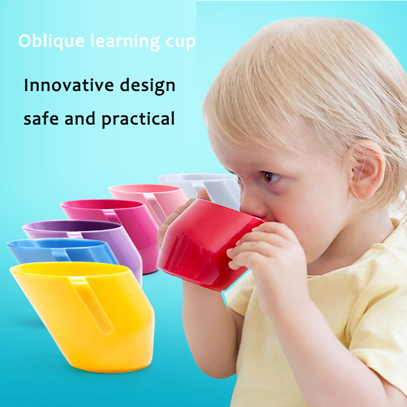 200ml Baby Water Cup Baby Feeding Training Cup Oblique With Handle Bevel Mouth Safe Leakproof Cups Toddler Kids Drinking Cups