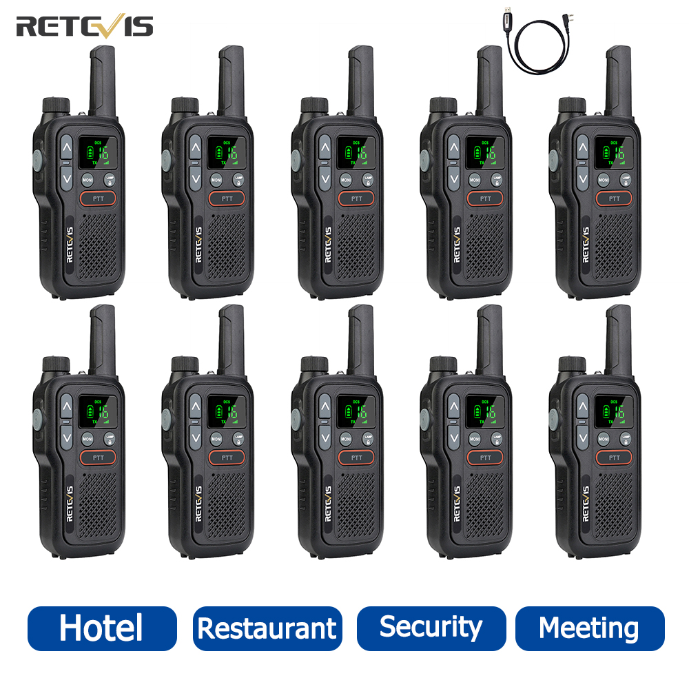 Retevis RB618 Mini 10 pcs Walkie Talkie PTT Portable Radio PMR 446 Two Way Radio Walkie-talkies Hotel Restaurant Communicator
