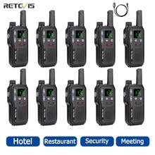 Retevis RB618 Mini 10 pcs Walkie Talkie PTT Portable Radio PMR 446 Two Way Radio Walkie-talkies Hotel Restaurant Communicator