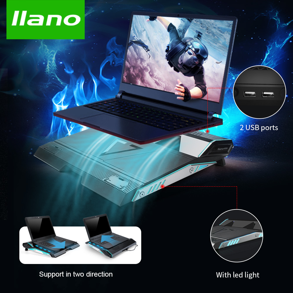 LLANO V6 Portable Laptop Cooler with USB 2.0 Ports 16 Led Air Cooler Cooling Fan Base Notebook Cooler for 15 15.6 17 Inch Laptop