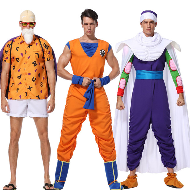 Halloween Mens Dragon balls Son Goku costume Piccolo role play clothing full sets Master Roshi costumes