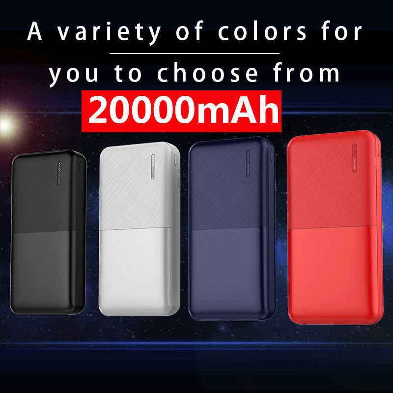 Banco de potência 20000 mah portátil carregador rápido powerbank 20000 2 usb tipo c poverbank bateria externa powerbank para xiao mi iphone