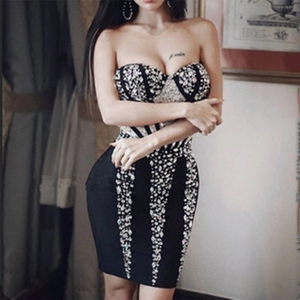 Image 4 - 2020 새로운 세련된 화려한 럭셔리 비즈는 섹시한 Strapless 도매 연예인 파티 미니 붕대 드레스 크리스마스 드레스를 장식