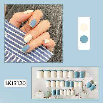 Fałszywe paznokcie 24 sztuk Nails Patch klej typu długi akapit niebieski biały kolor moda Manicure Patch fałszywe paznokcie zaoszczędzić czas Nails Patch tanie i dobre opinie Aihogard Jedna jednostka CN (pochodzenie) Palec Z tworzywa sztucznego Sztuczne paznokcie Pełne końcówki paznokci
