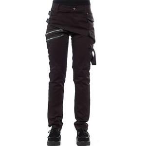 Rosetic Gothic Trousers Cargo-Pants Zipper Punk-Design Black Plus-Size Casual Women Spring-Streetwerar