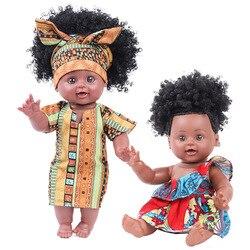 Кукла ростом 30 см, африканская черная кожа, поп-волосы, мягкий клей, силиконовая Реалистичная кукла-Реборн, Имитация Черной куклы, Детская ку...