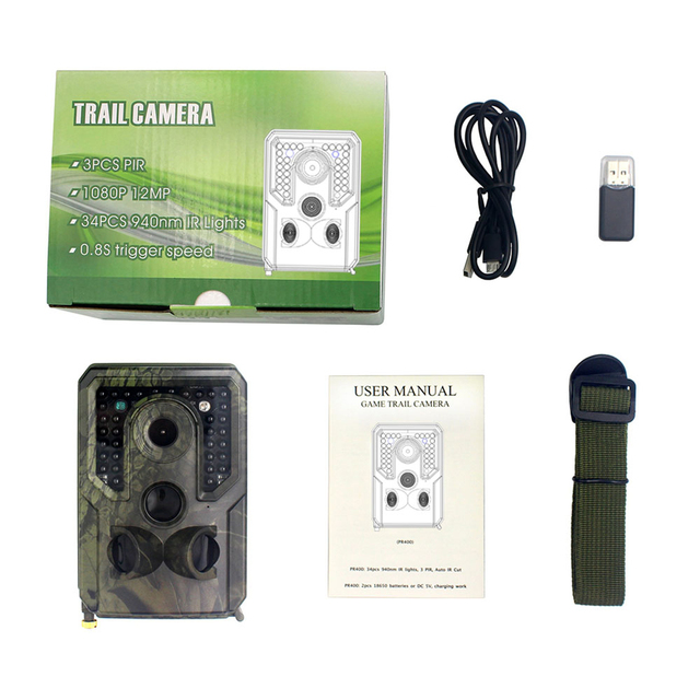 PR400C Hunting Wildlife Trail Camera 12MP 1080P PIR Infrared Hunting Camera With Night Vision Wireless Surveillance Tracking Cam