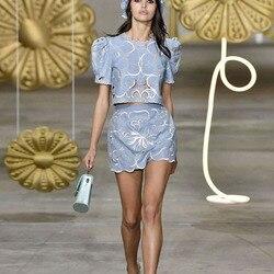 Подиумный дизайн 2020 летний женский комплект с цветочной вышивкой, открытые топы, мини-юбка, Модный комплект из 2 предметов, женский модный ко...