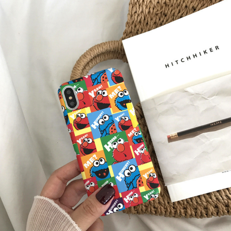 Illustration cute cartoon color sesame street phone case for iPhone X XS XR XSMax 8 7 6 6S PluS hard shell drop protection cover