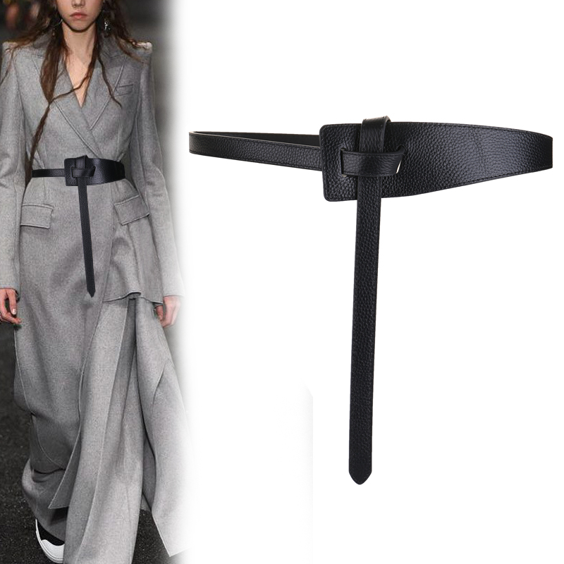 HOT Genuine Leather Strap Belt Brief Irregular Personality Girdle Women Fashion All Match Soft Cowhide Long Cow Knot Belts Dress