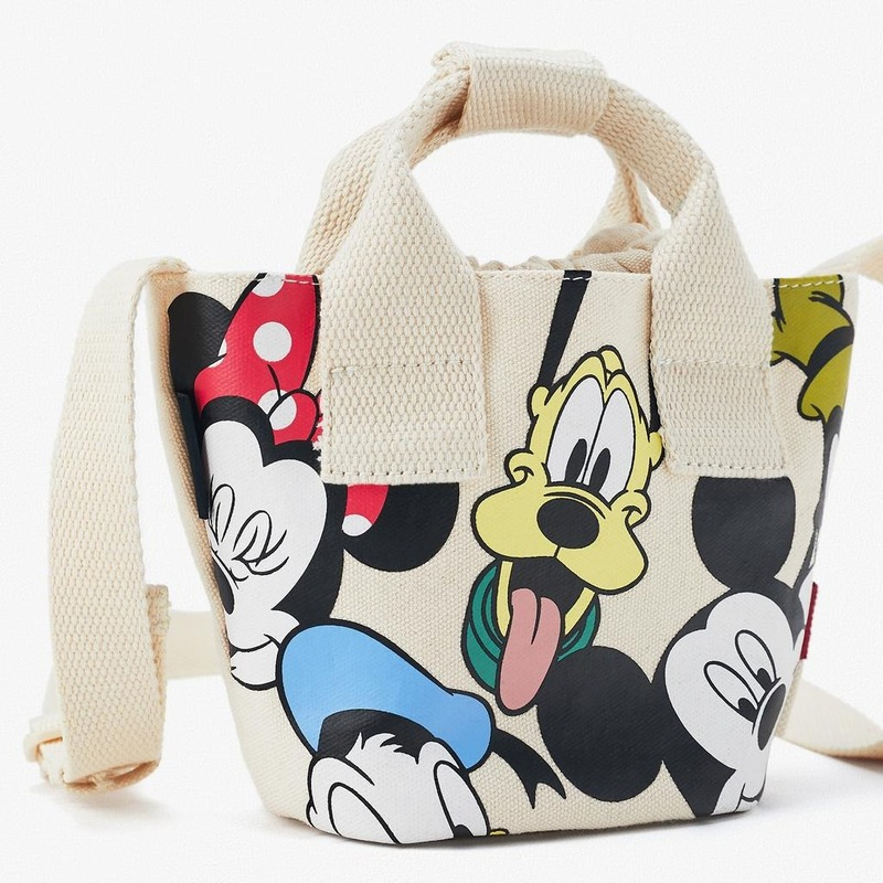 Double Layer Cotton Canvas Crossbody Bag Goofy Mickey Mouse Print Shoulder Bag Retractable Shoulder Strap Child Ladies hand Bag
