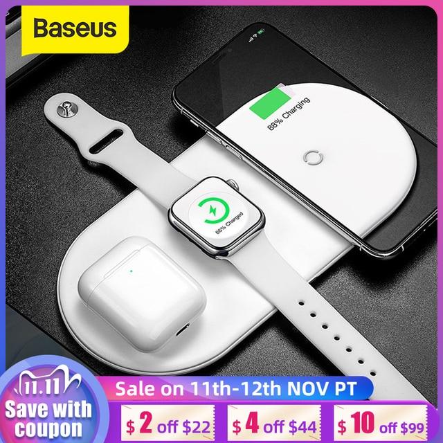 Baseus 3 ב 1 אלחוטי מטען עבור iPhone 12 Samsung מהיר טעינה אלחוטי Pad עבור אפל שעון 5 4 3 עבור Airpods Chargepad