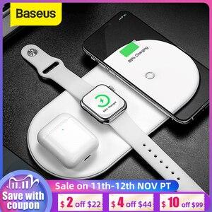 Image 1 - Baseus 3 in 1 Drahtlose Ladegerät Für iPhone 12 Samsung Schnelle Drahtlose Aufladen Pad Für Apple Uhr 5 4 3 für Airpods Chargepad
