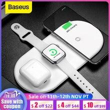 Baseus cargador inalámbrico 3 en 1 para iPhone 12 y Samsung, almohadilla de carga inalámbrica rápida para Apple Watch 5, 4, 3, Airpods, Chargepad