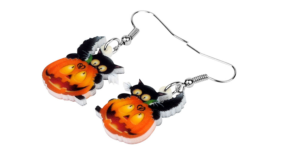 Halloween Black Cat Pumpkin Acrylic Drop Earrings