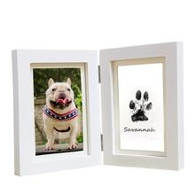 Newborns Baby Safe Non-toxic Handprint Photo Frame 3D DIY Pet Dog Paw Prints Souvenir Photo Frames for Pine Wood Frames